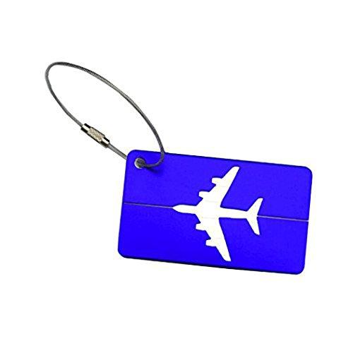 Leisial 2 Stück Kofferanhänger Gepäckanhänger Namensschilder aus Aluminiumlegierung-Blau