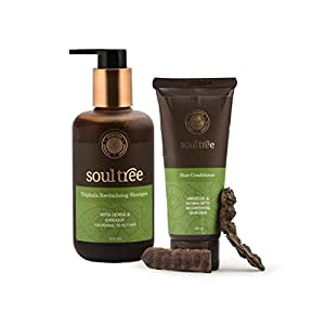 SoulTree Triphala Revitalising Shampoo, 250ml with Hibiscus Hair Conditioner, 100gm - Value Pack