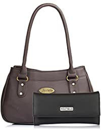 Fostelo Women's Combo Handbag & Clutch (Brown & Black) (FSB-1038-FC-29)