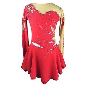 Heart&M Eiskunstlauf-Kleid für Mädchen Frauen Eislaufen Wettbewerb Performance Strass Streifen Handemade Chinlon Skating tragen Lange Ärmel rot