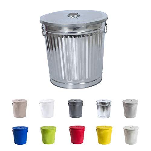 Cubo de basura Cubo de basura vintage Cubo de basura Cubo de basura Cubo de basura con asas Zinc Ø 21.5 cm, altura 21.5 cm