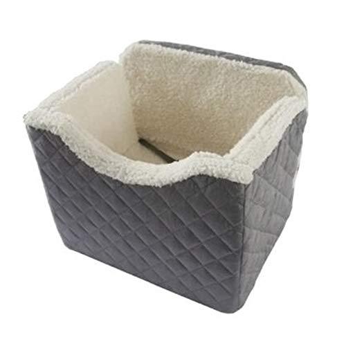 YUMEIGE Autotransportboxen Autositz Hunde abnehmbares Sitzkissen, Autositz für Hunde Lammfell + kurzer Plüsch, Auto Sitzbezug für Hunde Haustier wasserdicht und feuchtigkeitsbeständig grau