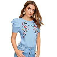 SheIn Women's Casual Embroidery Floral Print Puff Short Sleeve Summer Blouse Tops Tee Blue XS