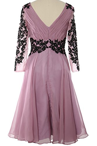 MACloth Gorgeous V Neck Long Sleeve Mother of Bride Dress Evening Gormal Gown Sky Blue