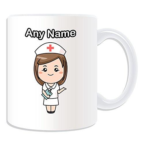 Sublimations-druck-kleid (Personalisiertes Geschenk-Krankenschwester in weiß Kleid Tasse (Gesundheit Service Design Thema, weiß)-alle Nachricht/Name auf Ihre einzigartige-National NHS Krankenhaus Worker Staff Uniform rot Kreuz Hat)