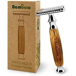 Rasoir de Sécurité avec Manche en Bambou   Rasoir de Sûreté   Traditionnel & Durable   Respectueux de l'environnement   Bambaw