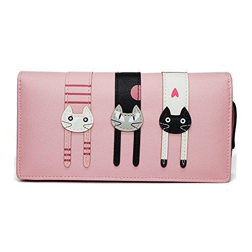 Portafoglio Donna Grande Pelle Cute Cat Borsa Long Wallet- Pink