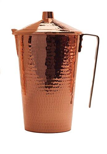 Sertodo Kupferkrug mit Griff und Deckel, handgehämmert, reines Kupfer, Gangotri, ayurvedisch, 48 fl. oz. Gangotri Ayurvedic 48 oz -