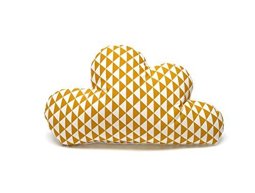 Blausberg Baby - Schmusewolke Kissen in Wolken-Form mit Frottee-Seite Dekokissen alle Materialien OEKO-TEX® Standard 100 zertifiziert - handgefertigt in Hamburg, Deutschland- Dreiecke gelb