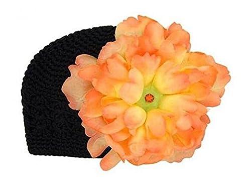 Black Crochet Hat with Orange Large Peony, Size: 12-18m