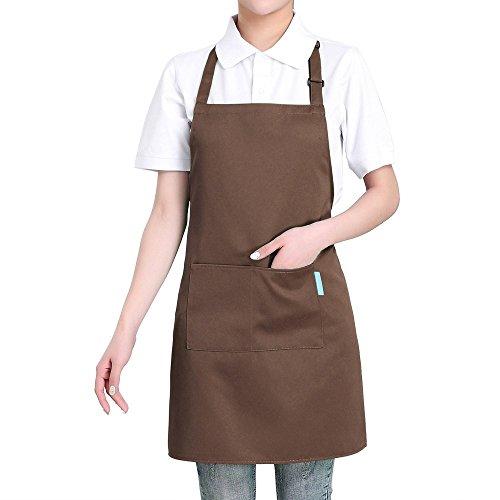 Esonmus Erwachsene Polyester Küche BBQ Restaurant Schürze mit Verstellbarem Hals Gürtel–2Taschen für Kochen Backen Gärtnern für Herren Damen Grün Coffee