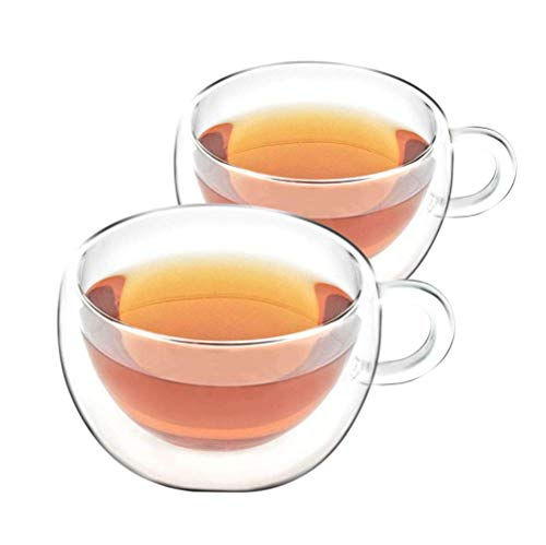 VAHDAM, Double Walled Insulated Cup (2 Pieces) Clear Glass Tea Cups Coffee Mugs- 200 ml Capacity, Durable & Stylish - 2 Pieces, Tea Cup Set - Dishwasher, Microwave & Refrigerator Safe (Shimmer)