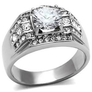 Herren-ring Gold Princess Cut White (YourJewelleryBox Herren Zirkonia Ring Edelstahl TK352PB Gr. 68 (21.6))