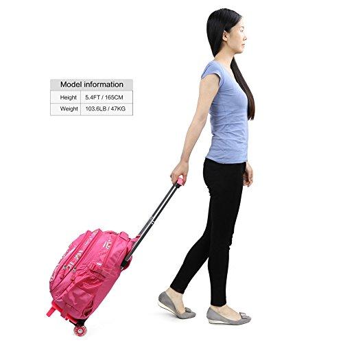 Zaino borsa trolley scuola viaggio computer tablet pc libri colore rosa nero Rosa