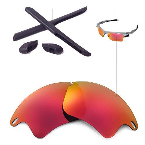 Walleva Ersatzgläser oder Linsen/Gummi für Oakley Fast Jacket XL Sonnenbrille - 26 Optionen (Feuer Rote Nicht-Polarisierte Linsen + Schwarzer Gummi)