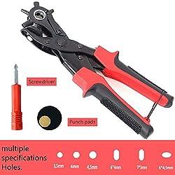 Lochzange für Leder, Revolverlochzange Professional mit 6 auswechselbaren Löchern rund, rechteckig, oval für Gürtel, Sattel, Schuhe, Papier,usw.