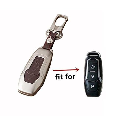 Happyit Zinc Alliage + Cuir Housse de Voiture pour Ford Smart / Folding Focus Mondeo Edge Fiesta Kuga Mondeo MK4 Fiesta Fusion Escort Ecosport Clef de Voiture (E Marron)