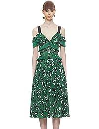 JUWOJIA Nouvelles De L Été Femmes Floral Vert Haut De Gamme Piste Plissé  Col en 481596b7b6c