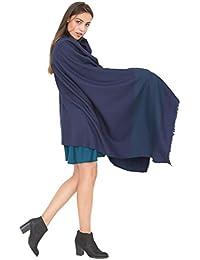 Grande écharpe noir tissé à la main mérinos sergée avec motif rayée 100 X 200cm bleu