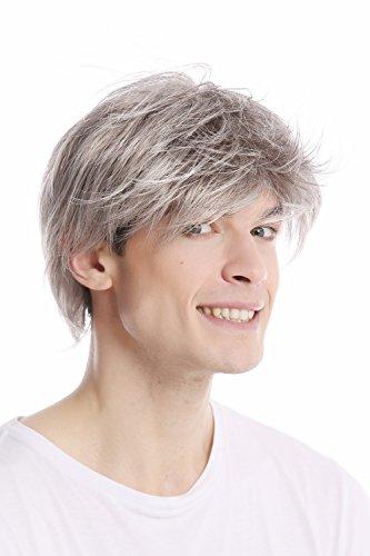 Wig me up ® - gfw387-51 parrucca uomo corta scompigliata taglio giovanile grigio grigio chiaro con nero