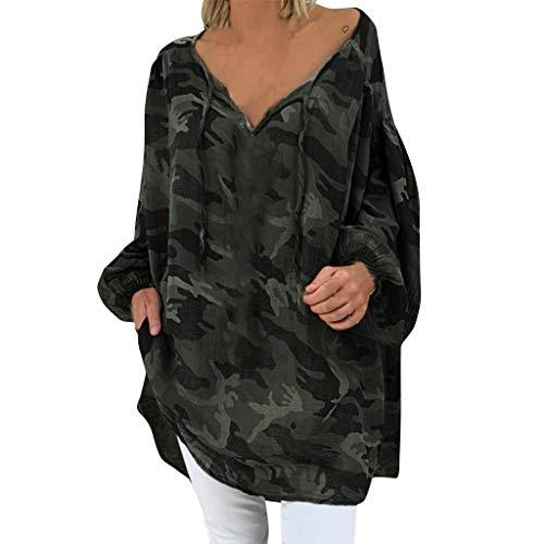 LOPILY Camouflage Bluse Damen Große Größen Lässige Lockere Oberteile Langarm Camouflage Tunika mit Bandagen Lockere Herbstshirts 62 60 Tunika V-Ausschnitt Long Shirts Damen Herbst (Tarnfarbe, 52)