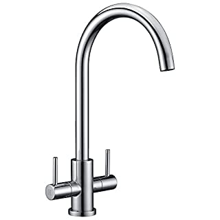 Avola Kitchen Sink Mixer Tap Traditional Twin Lever Design Polished Chrome Monobloc Solid Brass Body Tap for Bathroom Vanity