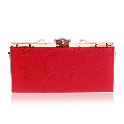 Strass Designer-handtasche (YAN Abend Clutch Bag Elegante Leder Strass Designer Hand Clutch Taschen Schimmer Taschen für Frauen Gold Rot Schwarz Rosa Dunkelgrün (Color : Rot))