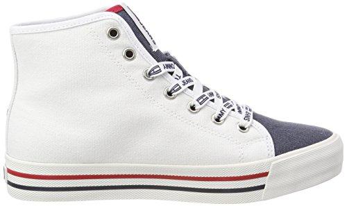 Hilfiger Denim Damen Tommy Jeans Casual Mid Cut Hohe Sneaker Weiß (Rwb 020)