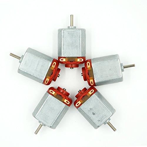 Baker DC Motor Mini Electric Motor 3–6V Fernbedienung, 16000–17.000130Micro Motor Control Spielzeug Auto 5x mit 15Gears (Silber + Rot)