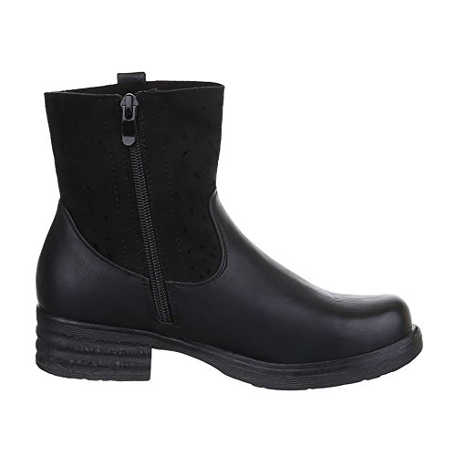 Damen Schuhe, JA3097, STIEFELETTEN BOOTS Schwarz