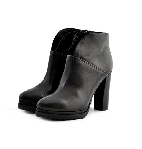 Scarpe stivaletti tronchetti donna Manas numero 39 152M1503SQNERO in pelle nera con tacco