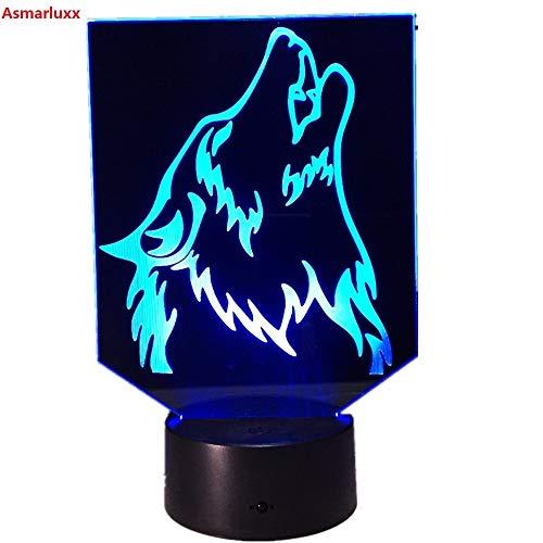 Wolf neuheit Lampe nachtlicht energienbank drahtlose Wandleuchte zu Hause Geschenk Farbwechsel Hologramm