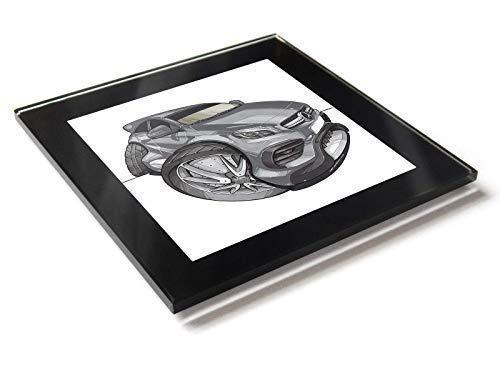 Koolart Karton Auto Mercedes A45 AMG Glas Tisch Untersetzer mit Geschenkverpackung - Silbern, 10cm x 10cm -