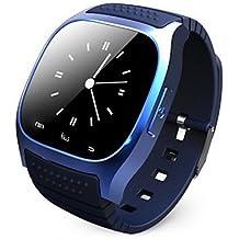 Lemumu RWATCH Smar twatch portátil M26,Media/Control de llamadas manos libres/Podómetro/Anti-perdida para Android/iOS,azul