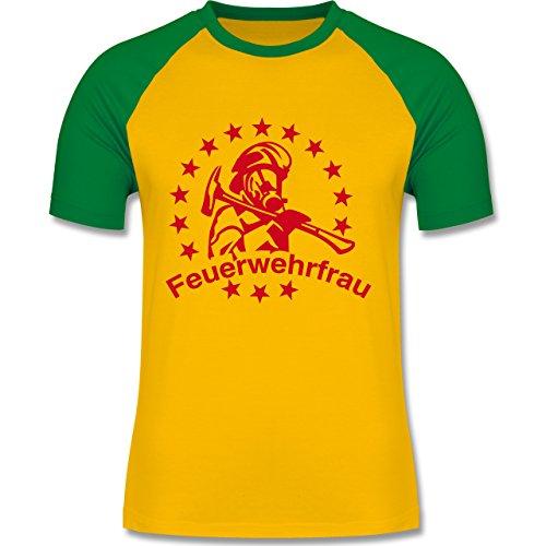 Feuerwehr - Feuerwehrfrau - zweifarbiges Baseballshirt für Männer Gelb/Grün