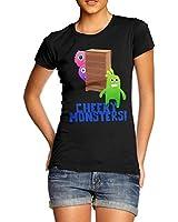 Women Cotton Novelty Fantasy Theme Cheeky Monsters Print T-Shirt