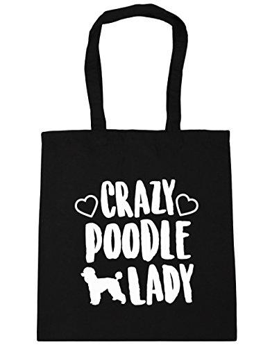 hippowarehouse-crazy-poodle-lady-tote-shopping-gym-beach-bag-42cm-x38cm-10-litres