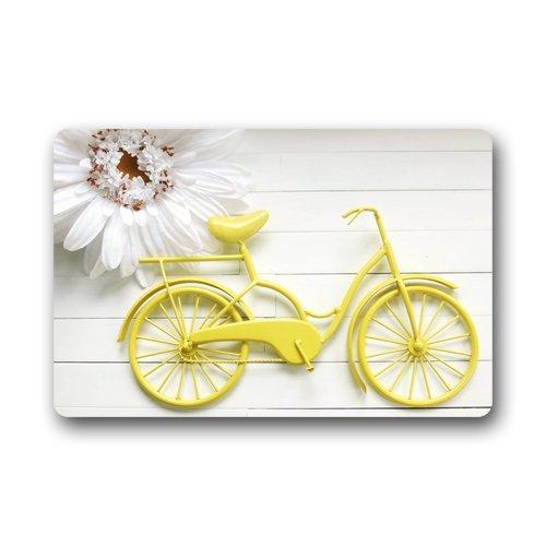 Doormat No.01 Haute qualité et de Nouveaux Mode de vélo Jaune avec Fleur Paillasson