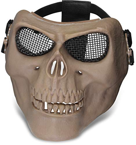 Totenkopfmaske Gittermaske, gepolstert, verstellbarer, elastischer 2-Punkt-Gurt, Farbe :Coyote