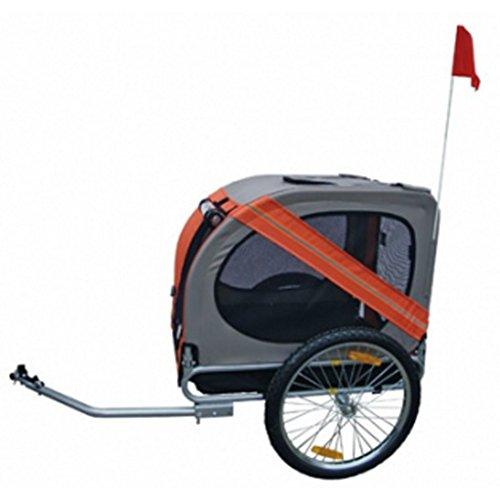 Hundeanhänger Fahrrad Hundefahrradanhänger orange-grau mit Sicherheits-Drehkupplung - 2