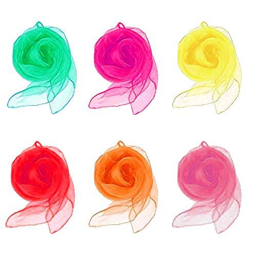 Wskderliner Kindergarten Tücher Tanz Performance Schals Chiffon Kinder Spielen Sinnesspielzeug für Kleinkinder Babys 6 Farben 60 x 60 cm Packung mit 12 .Farbe: Rot, Gelb, Orange, Rose rot, Pink, Grün.
