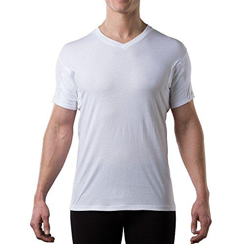 Thompson Tee - Anti-Schweiß Kurzarm-Unterhemd mit Achselschweiß-Polstern - normale Passform - V-Ausschnitt ,White,S (Beständig Unterhemd)
