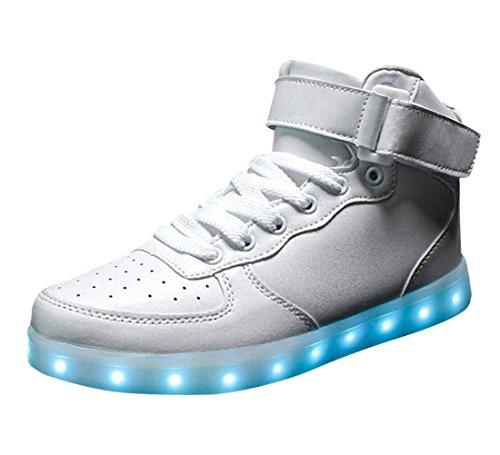 (Present:kleines Handtuch)Weiß 39 EU LED für Damen High-top Schuhe Farbwechsel Leuchtend Aufladen Turnschuhe Farbe 7 Sneaker Hoch Unisex 1m1bwLNJM
