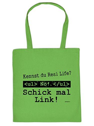 Coole Tasche für Spielkonsolen : Schick/Kennst du Real Life ? - Goodman Design® Bedruckte Baumwolltasche Farbe: hellgrün