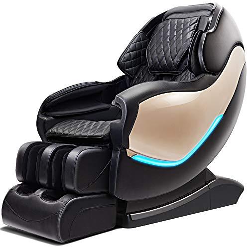 ALZHP Massagesessel Mit Wärmefunktion, Shiatsu-Massage, Neigungsverstellung Elektrisch Automatikprogramme Knetmassage Klopfmassage Rollenmassage Sessel Massagestuhl,Black