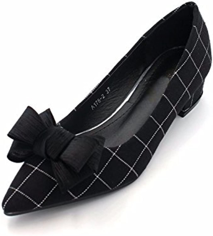 GTVERNH Primavera Mujer Zapatos de Ropa Cuadrada tridimensionales de Tacón bajo Zapatos de Boca Poco Profunda,...