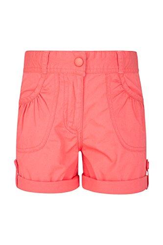 Mountain Warehouse Shore Shorts für Mädchen - Kindershorts aus 100% Baumwolle, Lange Atmungsaktive Hose, Hotpants mit aufrollbarem Saum - Ideal für Den Sommer & Urlaube Koralle 152 (11-12 Jahre) (Spaß Mädchen Shorts)