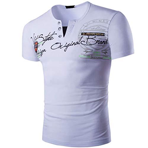 CICIYONER Herren Sommer T-Shirt V-Ausschnitt Kurzarm Sweatshirt Basic Shirt Top Slim Fit