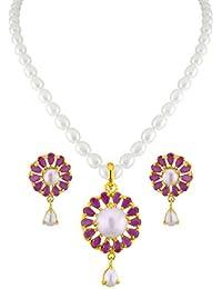 Sri Jagdamba Pearls Red Stone Pearl Pendant Set For Women