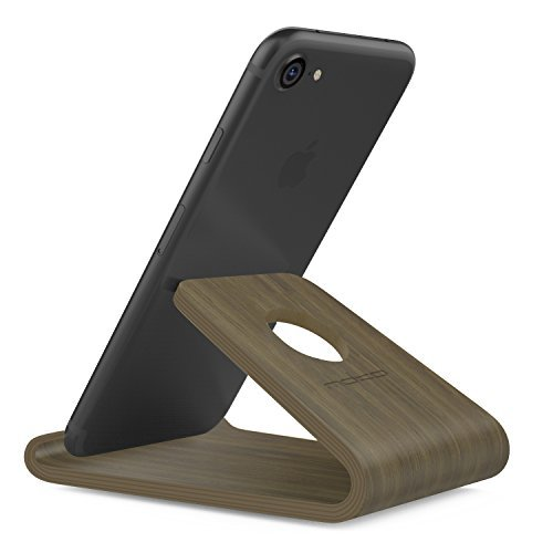 MoKo Handy/Tablet Ständer - Universal Holz Desktop Halterung Ersatz für Tablet/E-Reader/Smartphone, iPhone 7 Plus, iPad Air 2/Pro 9.7, Galaxy S10/Tab A 10.1/S3/S2/S7 Edge, Huawei P9, Dunkel Braun